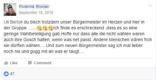 Nach Der Brgermeisterwahl Gab Es Fr Uli Bertok In Seiner Facebook Gruppe Auch Sehr Positive Rckmeldungen